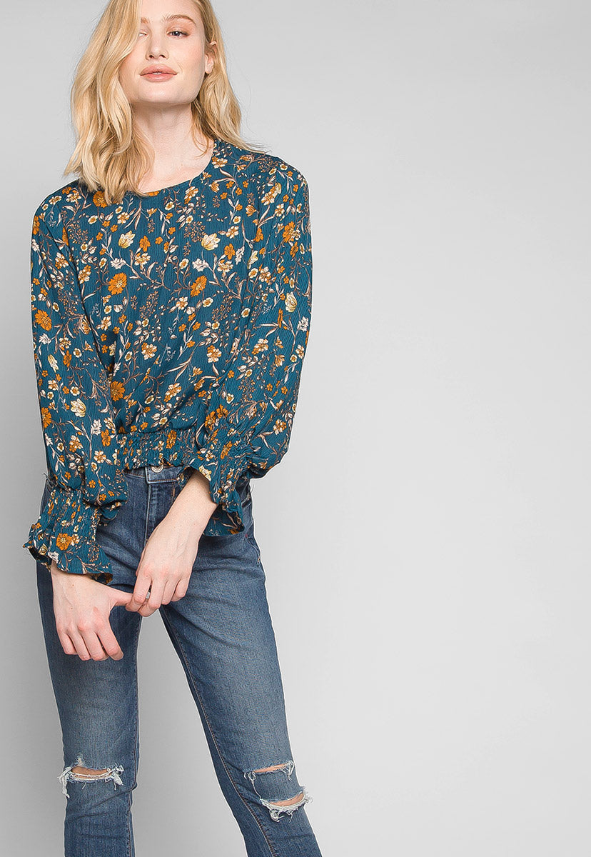 Maddie Smock Trims Floral Blouse in Teal - Shirts & Blouses - Wetseal