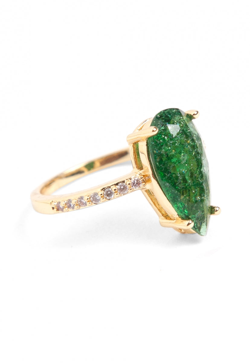 Spirit Emerald Rhinestone Ring - Jewelry - Wetseal
