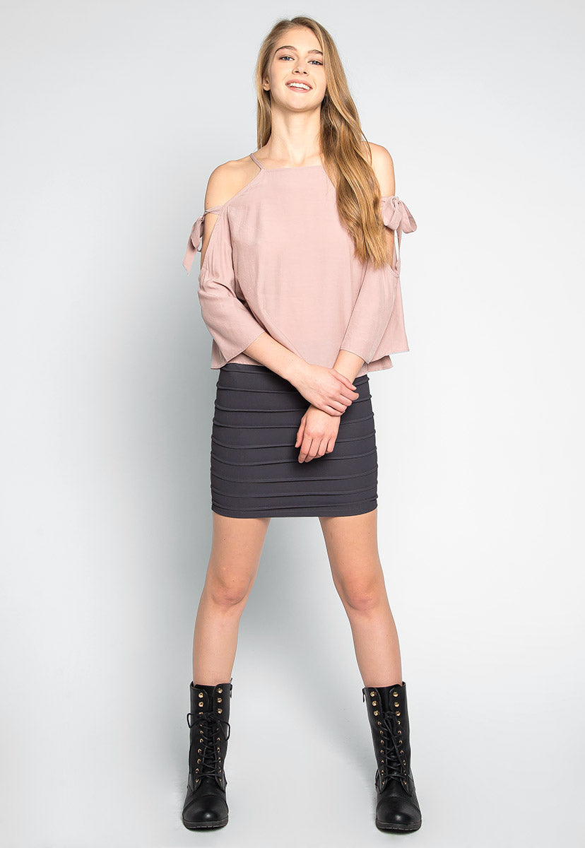 Calling For You Cold Shoulder Blouse in Light Pink - Shirts & Blouses - Wetseal