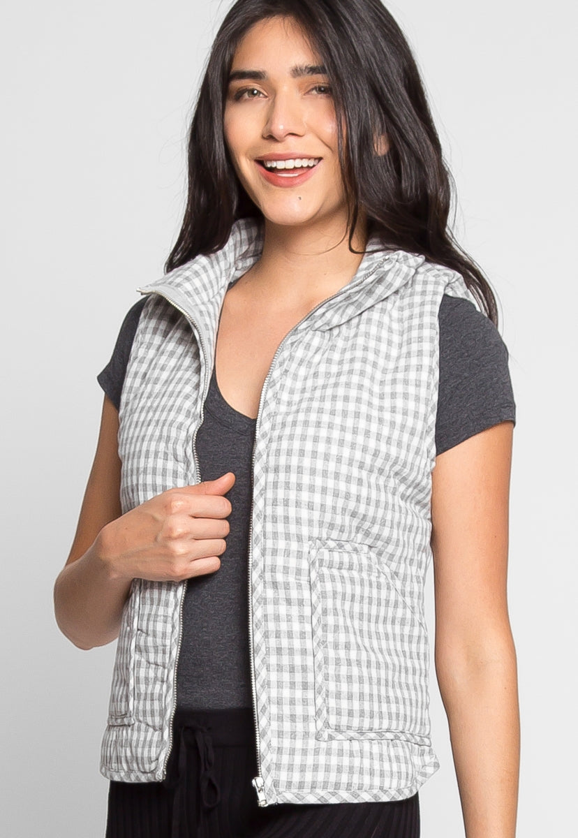 Hill Front Plaid Quilted Vest in Gray - Jackets & Coats - Wetseal