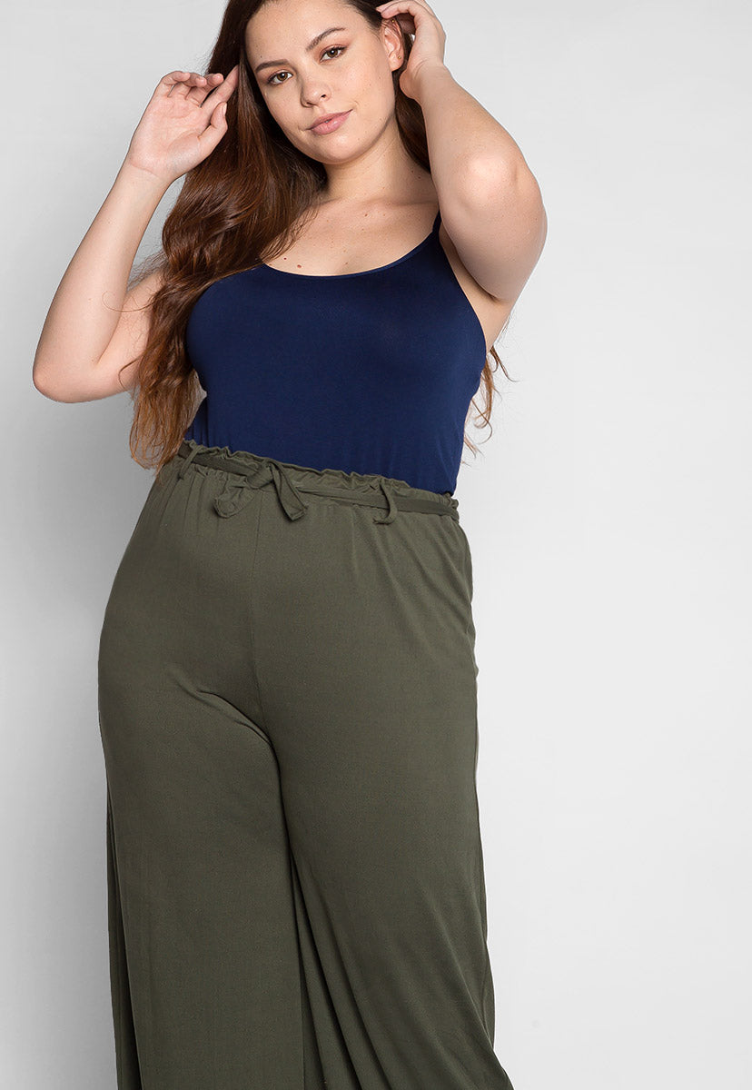Plus Size Benton Cami Tank in Navy - Plus Tops - Wetseal
