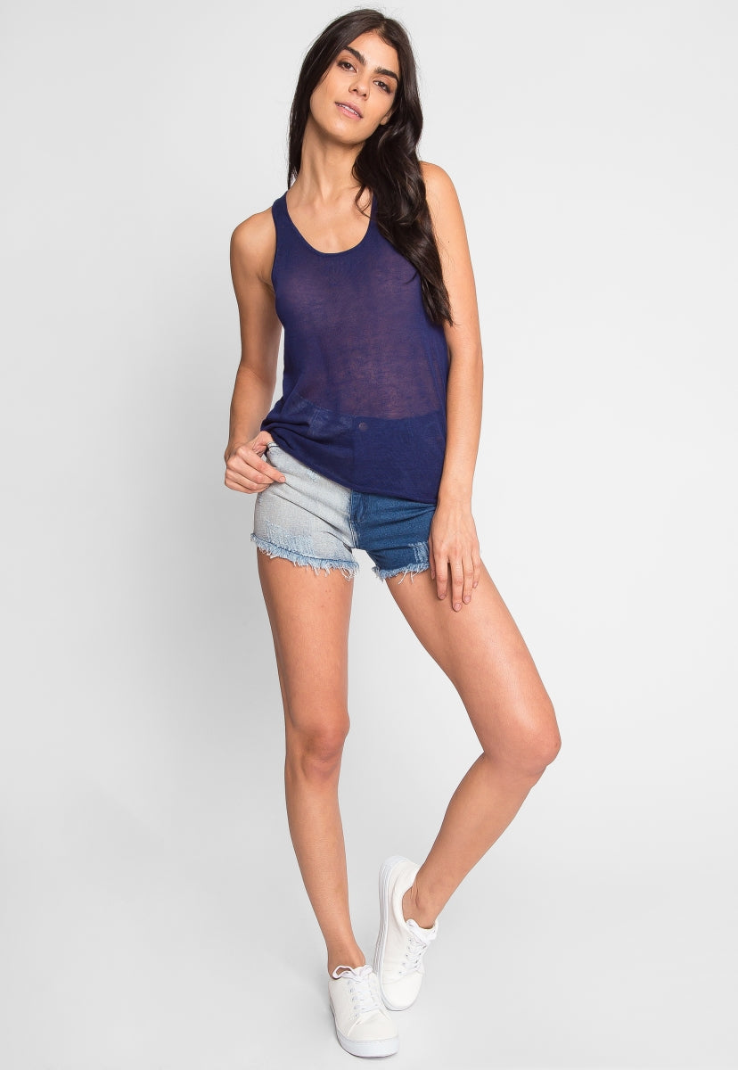 Penny Luxe Tank Top in Navy - Tanks - Wetseal