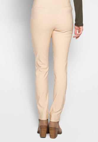 Jillian Zippered Pocket Pants in Beige