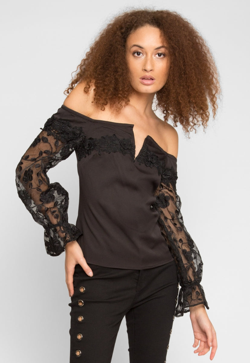 Juno Lace Sleeve Blouse - Shirts & Blouses - Wetseal
