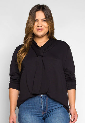 Plus Size Florida Tie Neck Knit Top in Black