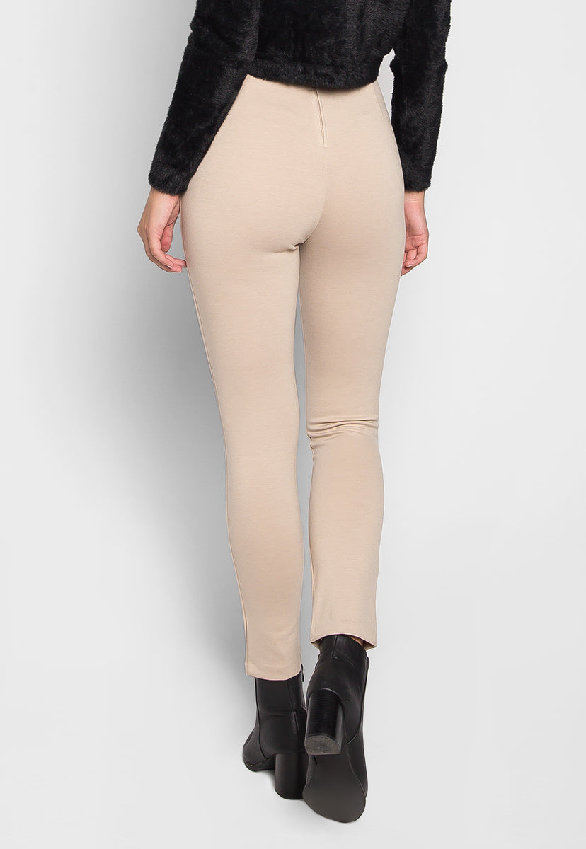 Lottus Flower Lace Up Belted Skinny Pants in Beige - Pants - Wetseal