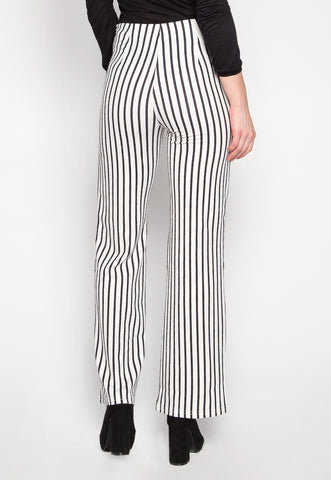 Flare Games Stripe High Waist Pants In White