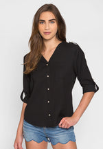 Ocean Waves Pearl Button Up Shirt in Black