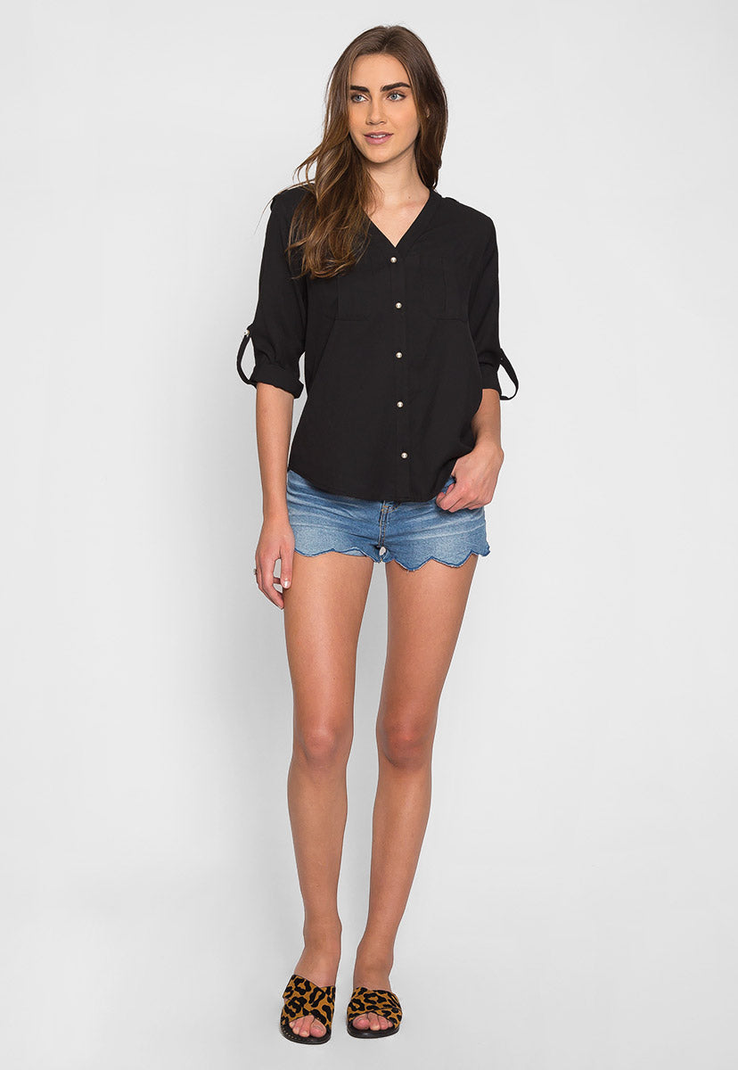 Ocean Waves Pearl Button Up Shirt in Black - Shirts & Blouses - Wetseal
