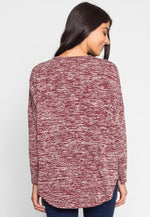 Ball Park Marled Top in Wine