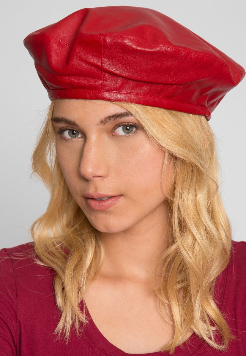 Inspector Faux Leather Beret - Hat & Hair - Wetseal