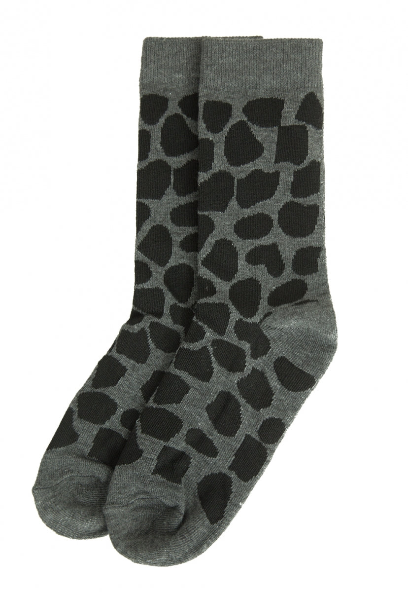 Warp Leopard Ankle Socks in Charcoal - Socks & Legwear - Wetseal
