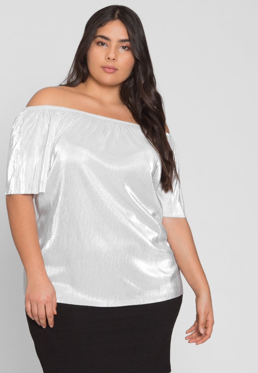 Plus Size Off Shoulder Plisse Blouse - Plus Tops - Wetseal