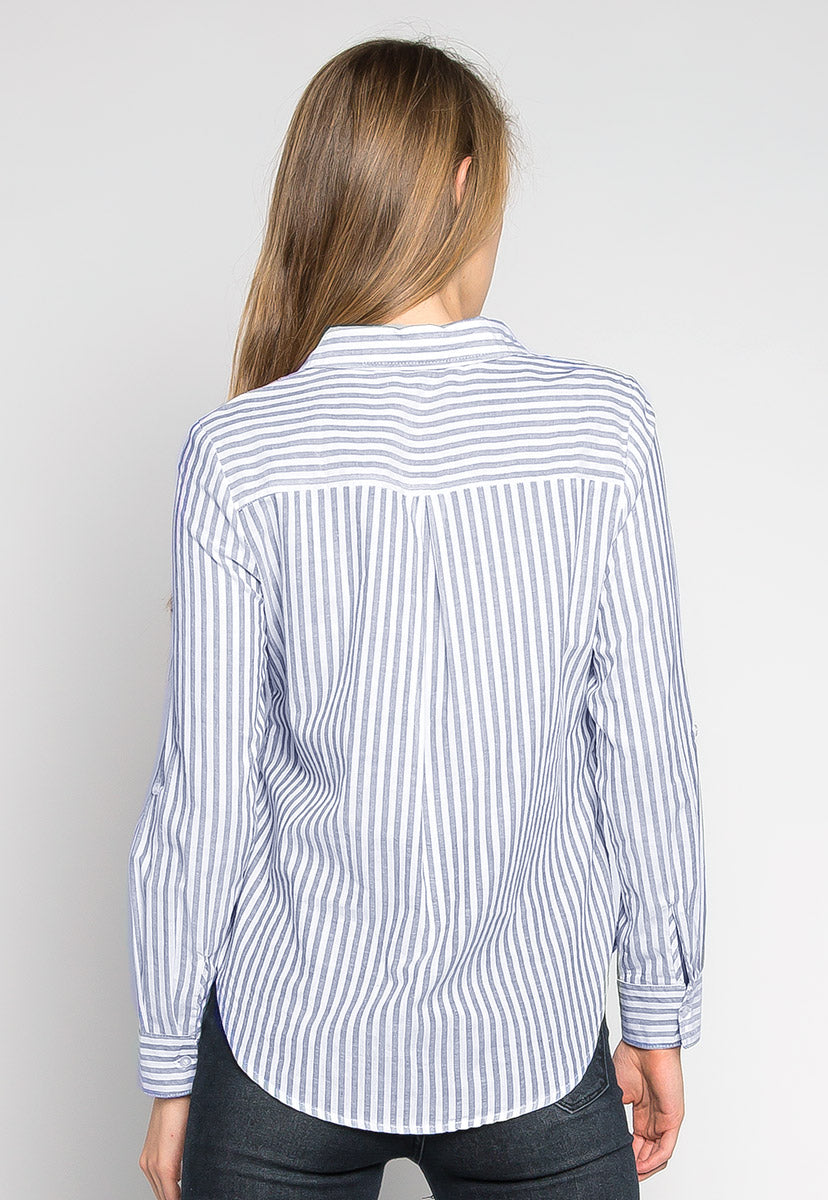 Bosslady Striped Shirt in Navy - Shirts & Blouses - Wetseal