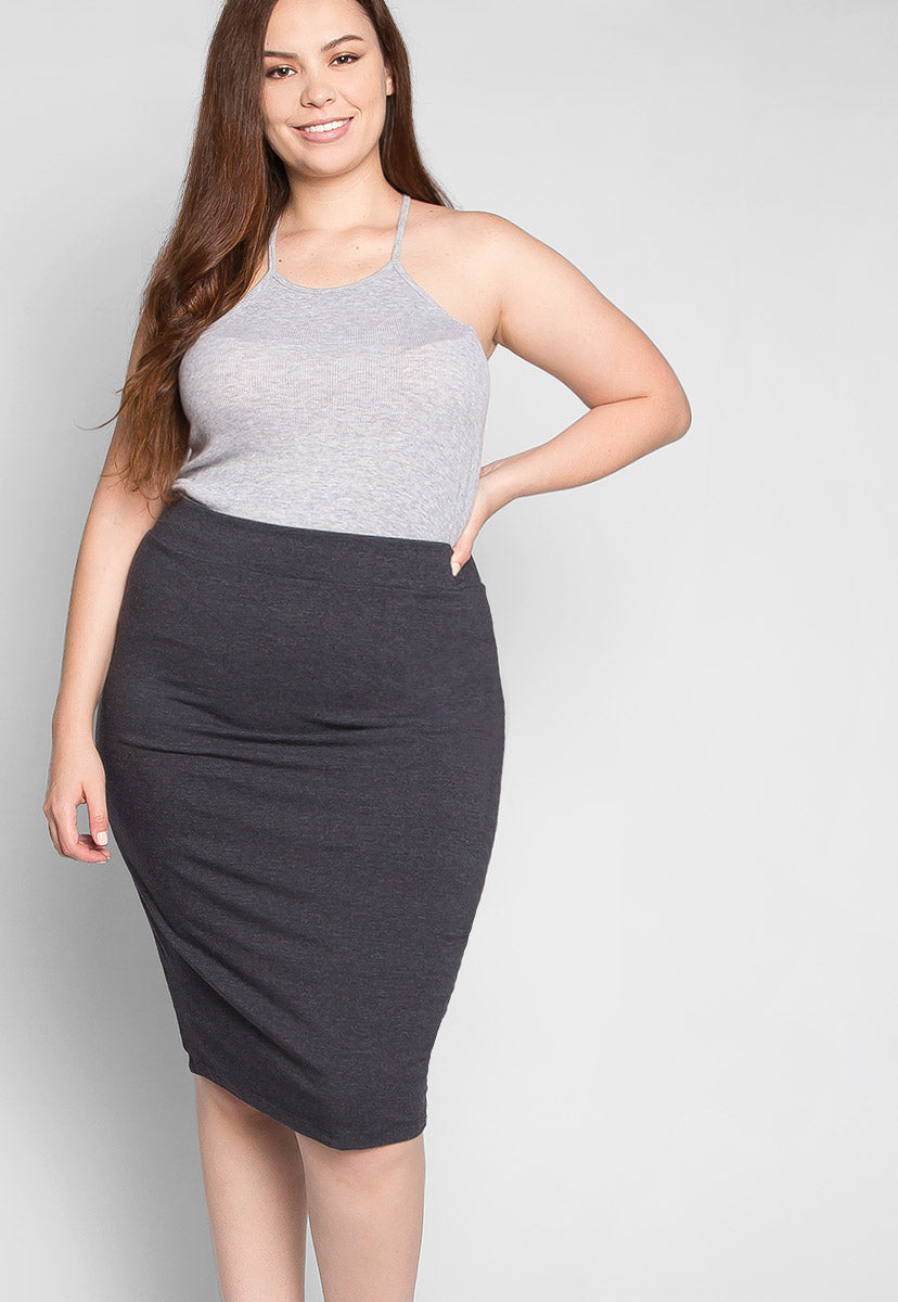 Plus Size Berlin Skirt in Charcoal - Plus Bottoms - Wetseal