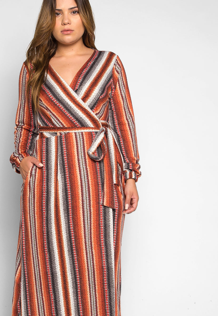 Plus Size Lighting Up Striped Wrap Maxi Dress