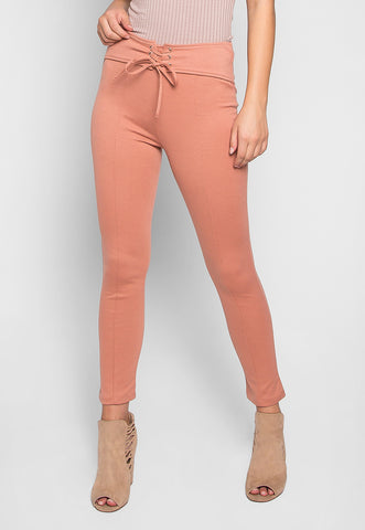 Lottus Flower Lace Up Belted Skinny Pants in Pink