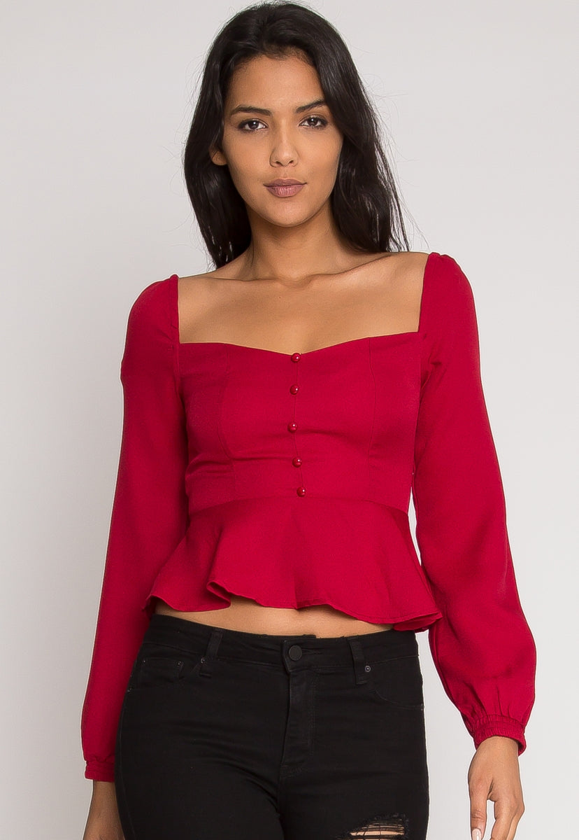 Sweetheart Blouse in Red - Shirts & Blouses - Wetseal
