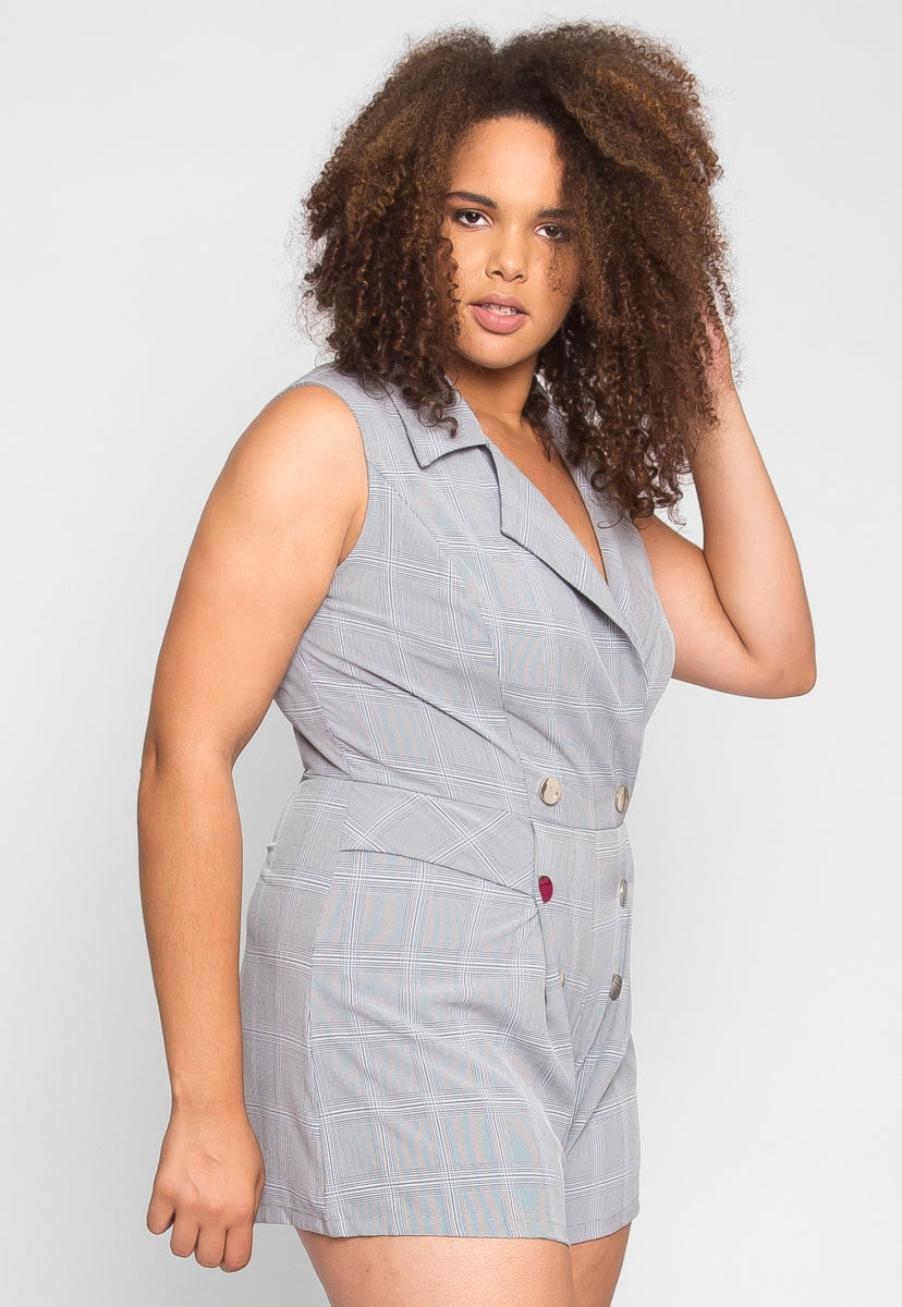 Plus Size Business Plaid Romper - Plus Rompers & Jumpsuits - Wetseal