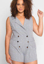 Plus Size Business Plaid Romper