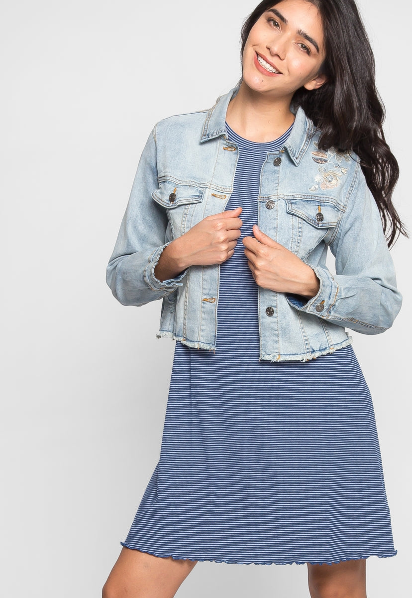 Piper Floral Embroidered Denim Jacket - Jackets & Coats - Wetseal