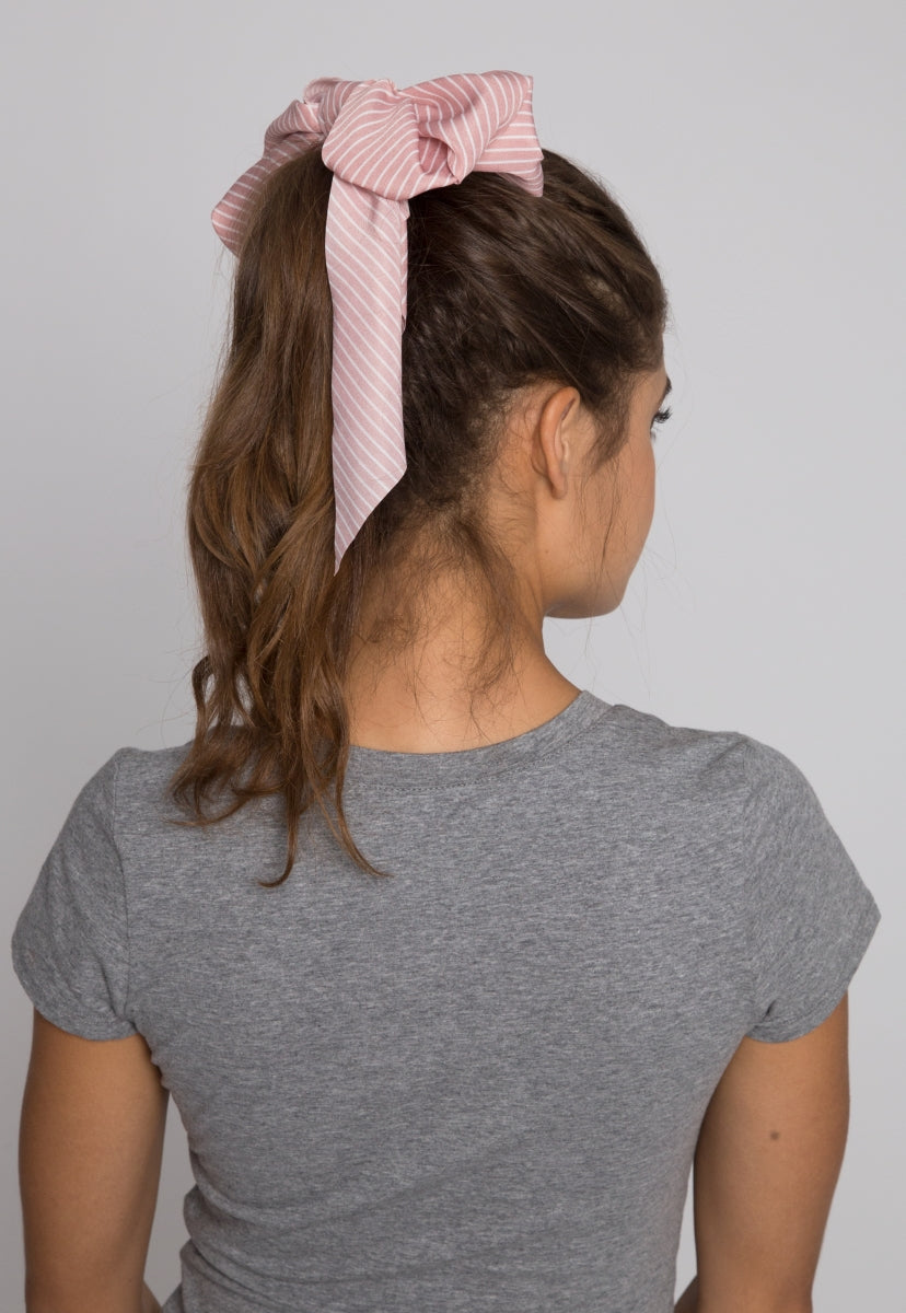 Lake Stripe Tail Scrunchie in Pink - Hat & Hair - Wetseal