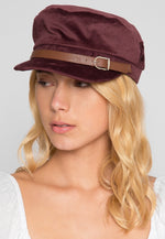 All Aboard Velour Cabby Hat in Wine
