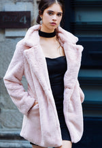 Glam Faux Fur Coat in Pink