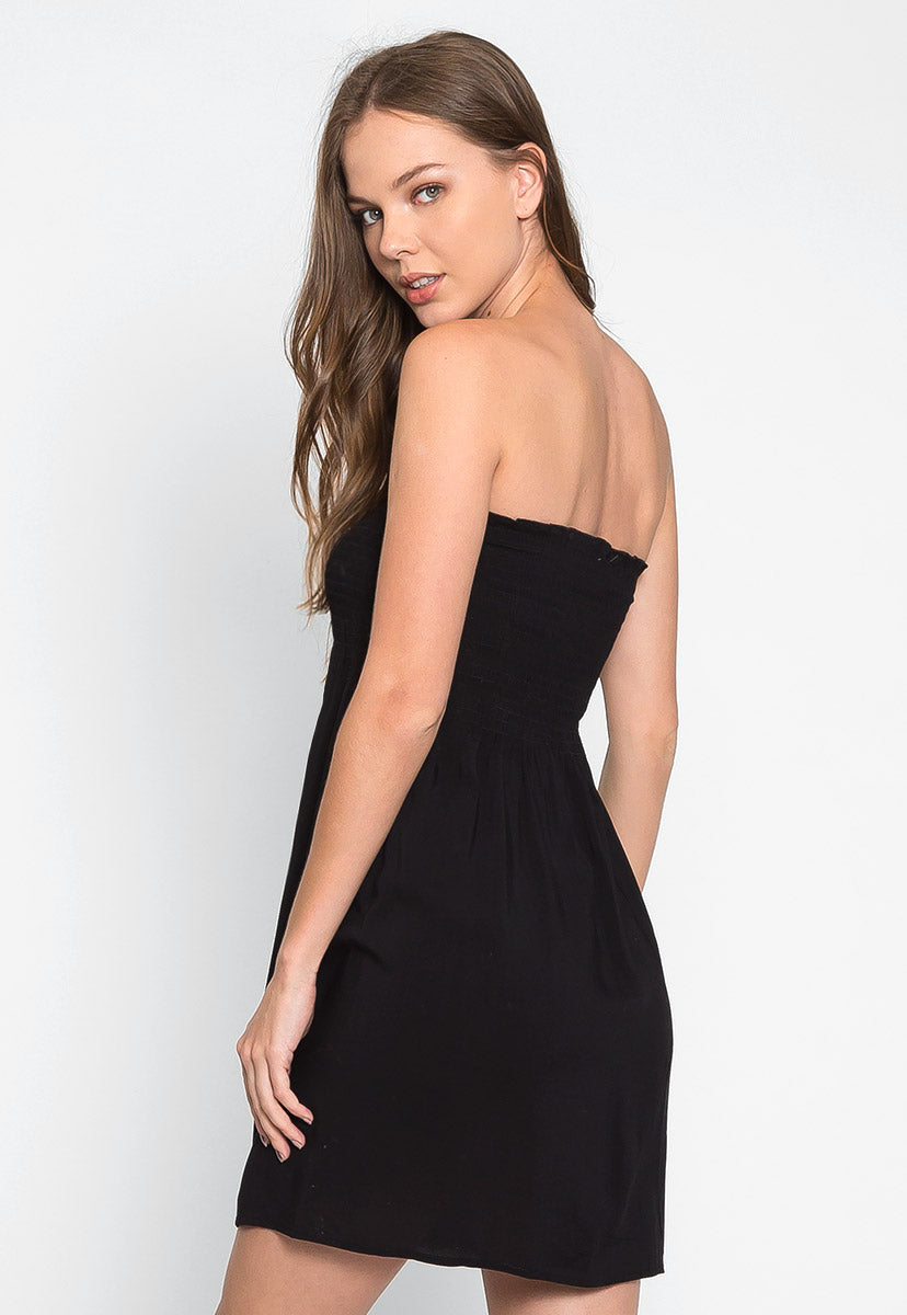 Bellflower Button Front Sun Dress in Black - Dresses - Wetseal