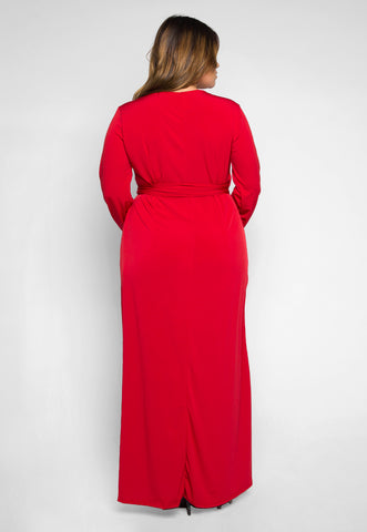 Plus Size Lighting Up Wrapped Maxi Dress in Red
