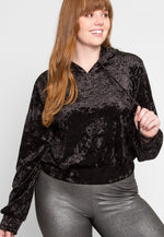 Plus Size Haze Crushed Velvet Hoodie in Black