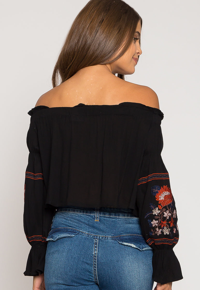 Wild Off Shoulder Top in Black - Shirts & Blouses - Wetseal