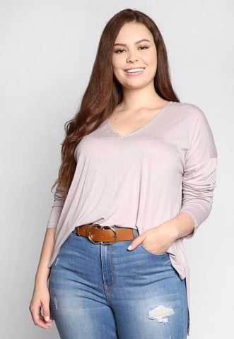 Plus Size Drop Hem Top in Lavender