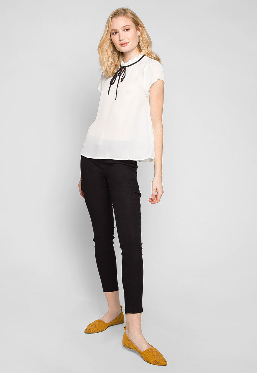 Margot Ruffle Neck Blouse in White - Shirts & Blouses - Wetseal