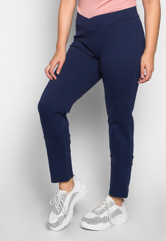 Plus Size Macaroon V-Waist Leggings in Navy