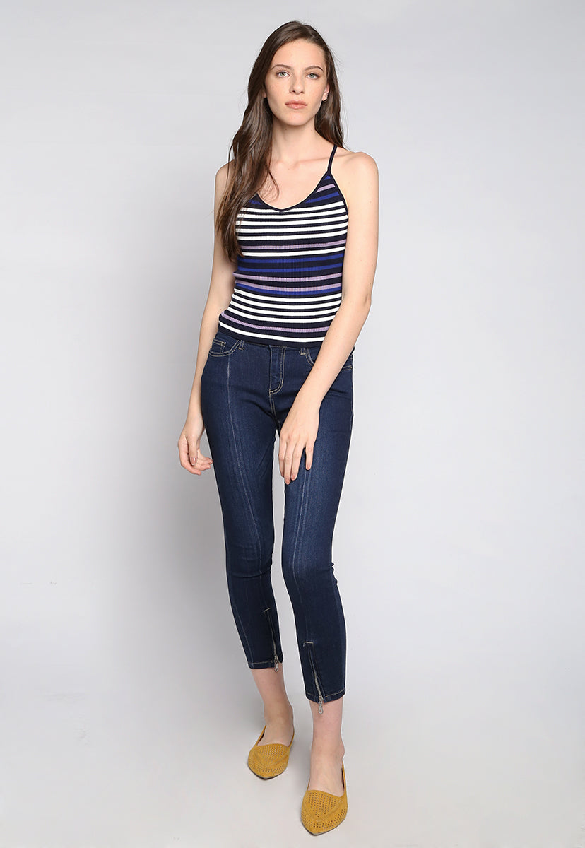 Stripes on Stripes Knit Top in Purple - Tanks - Wetseal