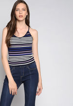 Stripes on Stripes Knit Top in Purple
