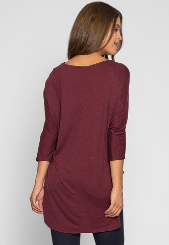 Wake Up Knit Top in Burgundy