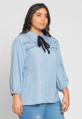 Plus Size Girly Chambray Button Up Shirt by Wet Seal