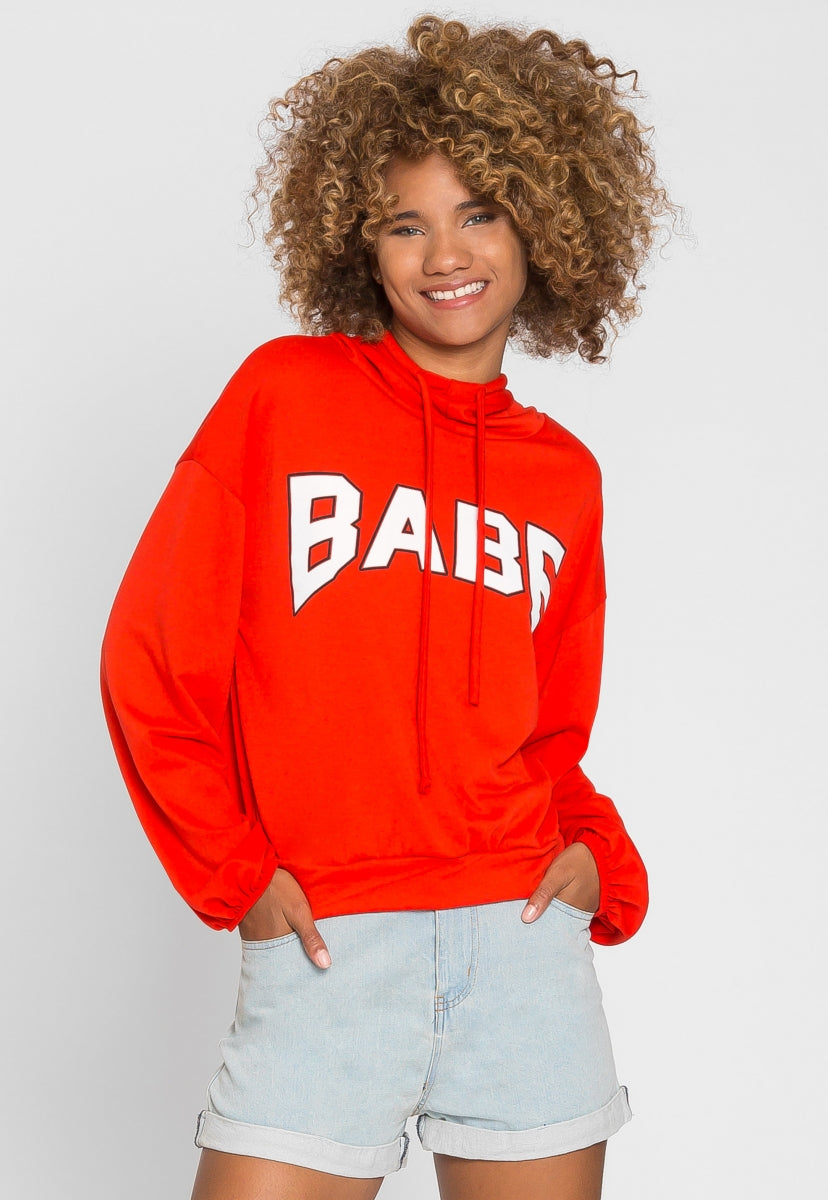 Rockstar Babe Graphic Hoodie in Red - Sweaters & Sweatshirts - Wetseal