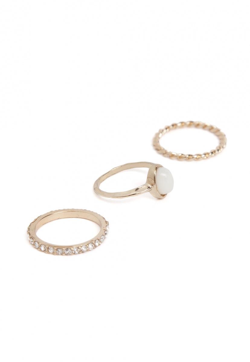 Snow Ivory Stack Ring Set - Jewelry - Wetseal