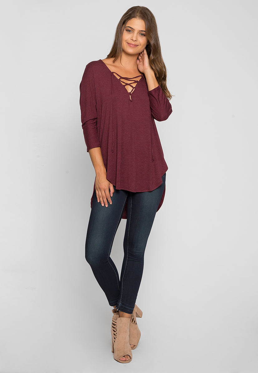 Wake Up Knit Top in Burgundy - Shirts & Blouses - Wetseal