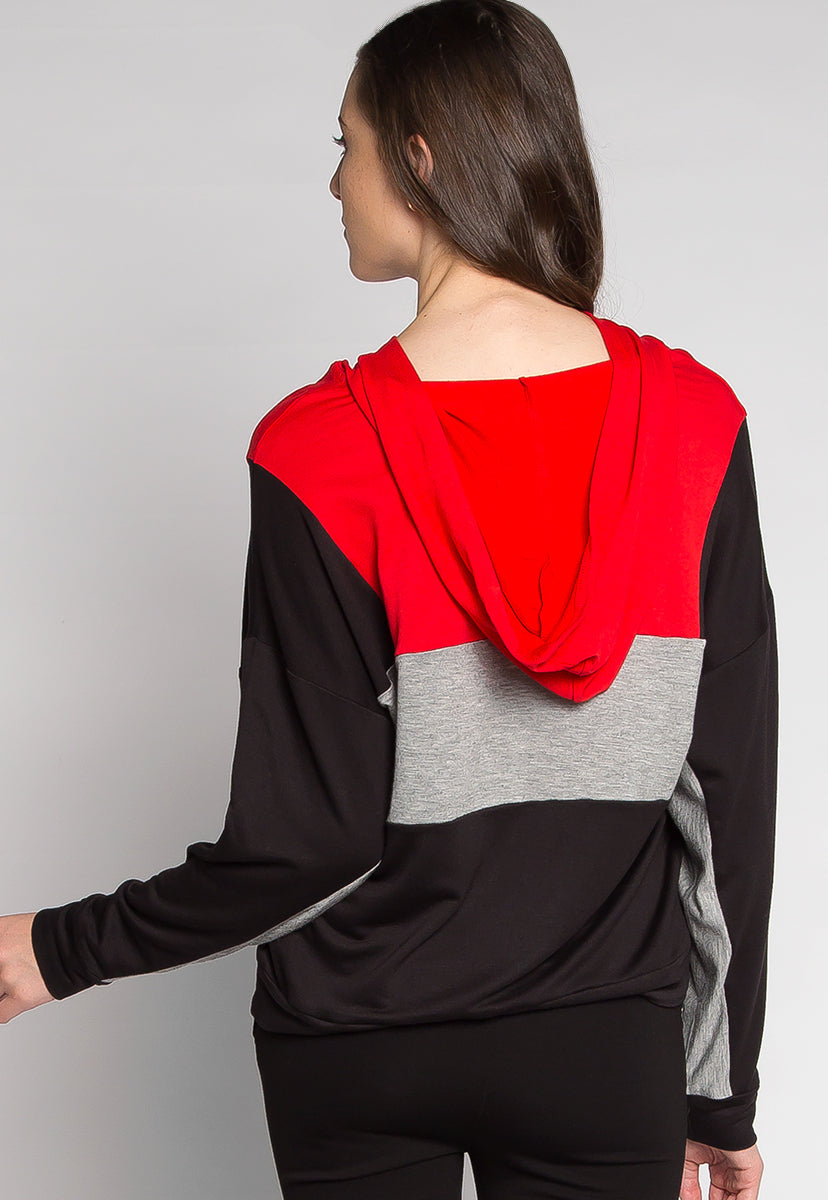 Gamers Color Block Hoodie in Red - Sweaters & Sweatshirts - Wetseal