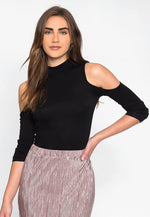 Hot and Cold Mock Neck Top in Black