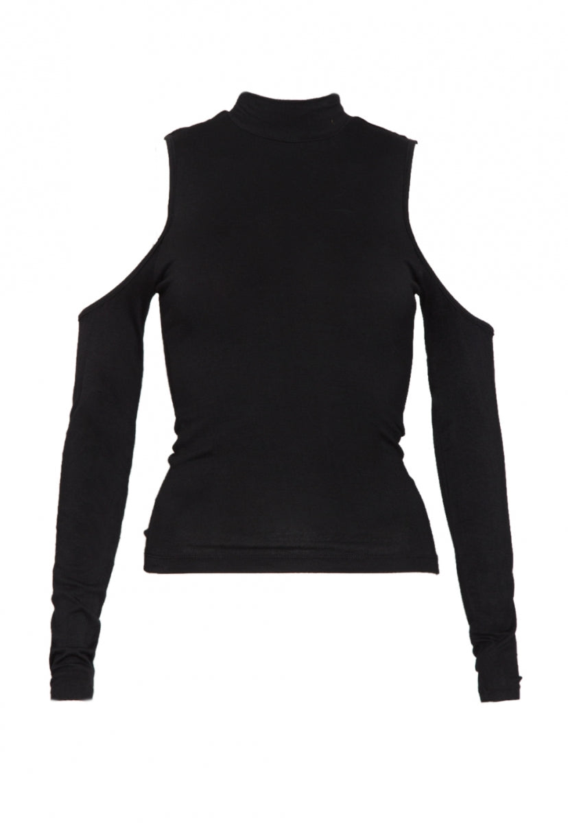 Hot and Cold Mock Neck Top in Black - Shirts & Blouses - Wetseal