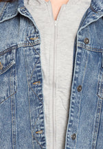Plus Size Stone Wash Denim Jacket in Blue