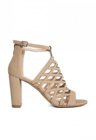 Farrow Laser Cut Ankle Boots in Beige