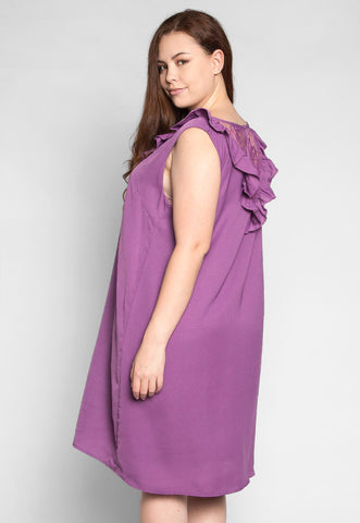 Plus Size Lavender Fields Ruffle Mini Dress in Purple