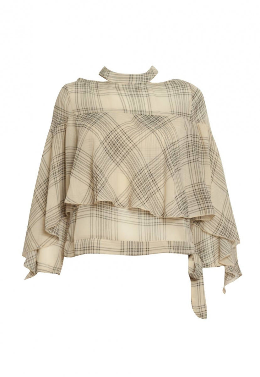 Whittier Plaid Chiffon Blouse in Ivory - Shirts & Blouses - Wetseal