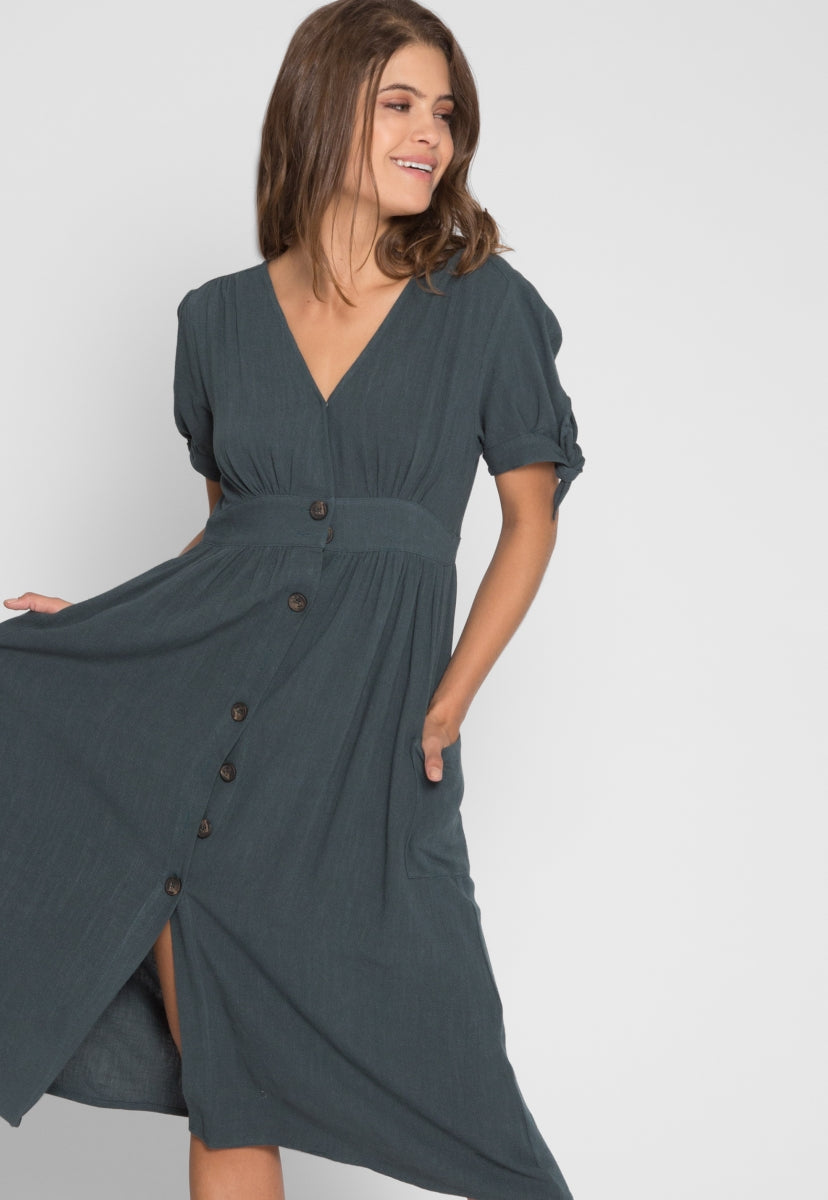 Magnolia Button Front Midi Dress in Teal - Dresses - Wetseal